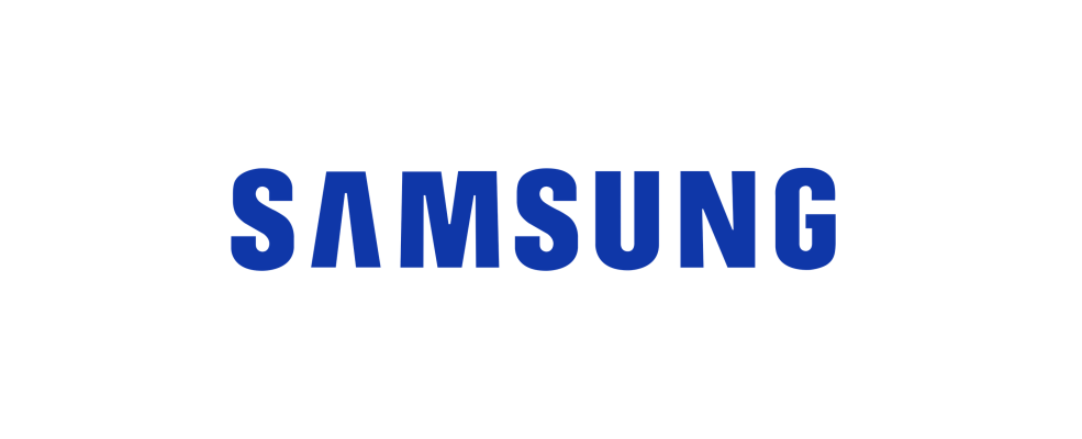 Samsung logo in blue text against white background